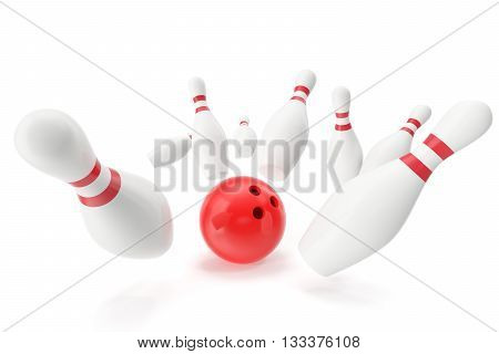 Bowling game, red bowling ball crashing into the skittles, 3d illustration