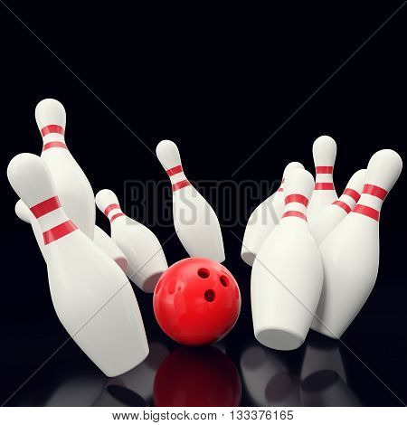 Bowling game with red bowling ball crashing into the skittles. on black backgorund, 3d illustration