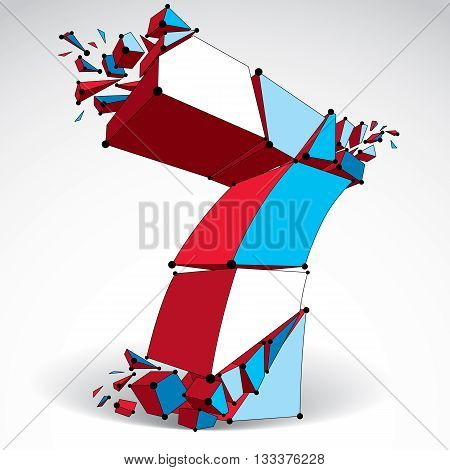 3d vector low poly colorful number 7 with black connected lines and dots geometric wireframe font with fragments. Perspective shattered digit with thread.