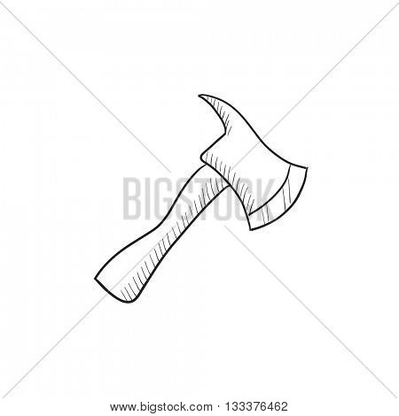 Fire axe vector sketch icon isolated on background. Hand drawn Fire axe icon. Fire axe sketch icon for infographic, website or app.