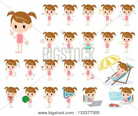Twintail Girl Pink Swimwear Style