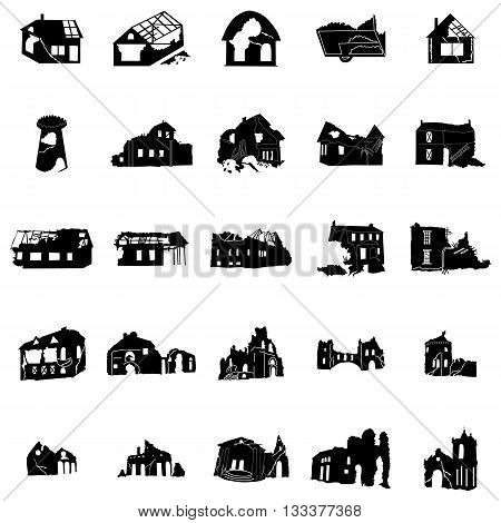 Battered and broken homes silhouettes in black