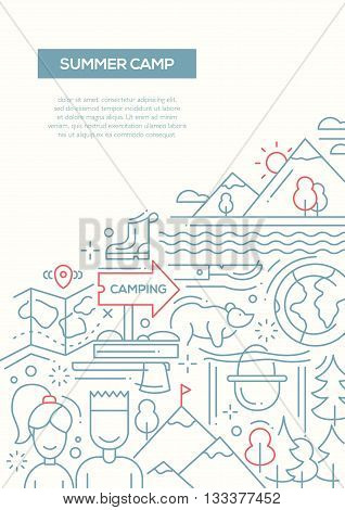Camping and hiking plain line flat design composition with tourism elements