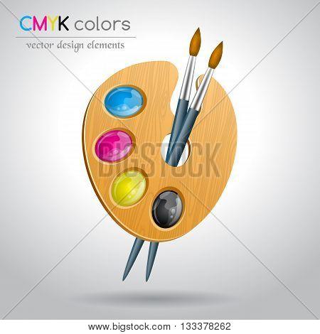 CMYK color palette and brushes. Vector illustration.