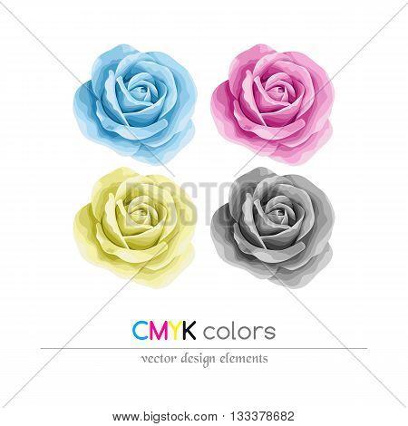 Roses set in CMYK colors. Design element. Vector illustration.
