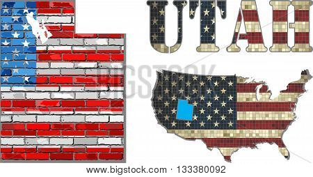 USA state of Utah on a brick wall - Illustration, The flag of the state of Utah on brick textured background,  Font with the United States flag,  Utah map on a brick wall