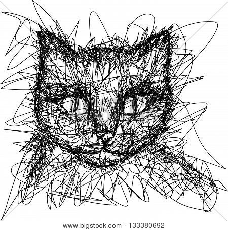 T-shirt graphics. Simple drawing liner. Doodle. Children's drawing. Cat