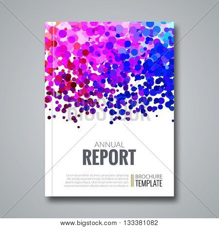Business Report Design Background with Colorful Dots, simulating ink. Dotwork Brochure Cover Magazine Flyer Template, vector illustration.