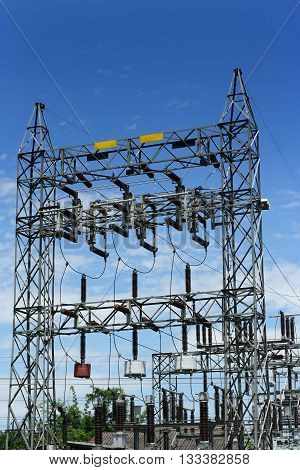 The high voltage and a blue sky