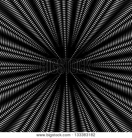 Optical illusion creative black and white graphic moire backdrop. Decorative lined hypnotic vector contrast background.