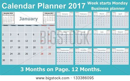 Calendar Planner for 2017 Year. 3 Months on Page. Week Starts Monday. 12 Months. Vector Stationery Design Print Template. Business calendar 2017. Calendar 2017 vector