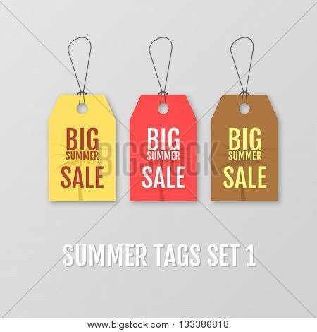 Summer tags set. Big sale tag. Sale tag vector isolated. Sale sticker with special advertisement offer. Big summer sale yellow red and brown tag. Advertisement tag. Special offer tag. Template tag.