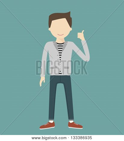 Young hipster man showing thumbs up sign vector flat design illustration isolated
