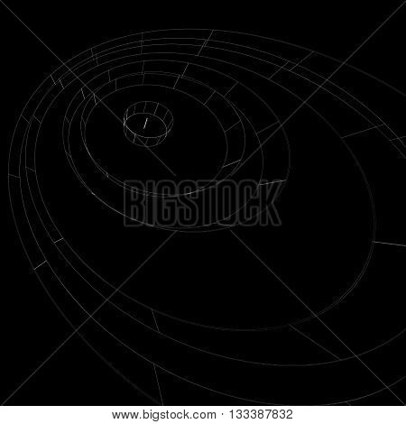 Scientific perspective lattice dark background abstract netting surface with lines mesh. Web graphic structure backdrop engineering sketch.