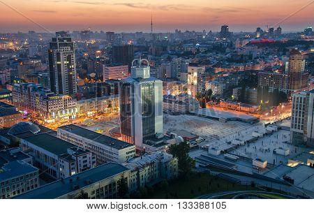 Night Olmpiysky Square In Kiev