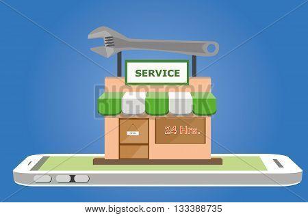 Vector illustration of online service shop on smartphone mobile screen. online service concept