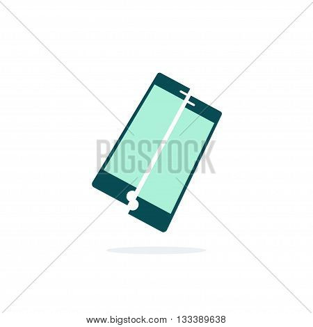 Broken mobile phone vector icon isolated on white, crushed phone