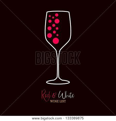 Wine list red and white menu design template. Wine menu design.