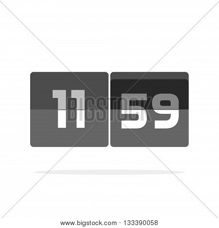 Timer counter vector icon isolated on white, countdown clock digits board panel