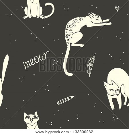vector seamless pattern with small cats. hand drawn illustration of funny cute cats