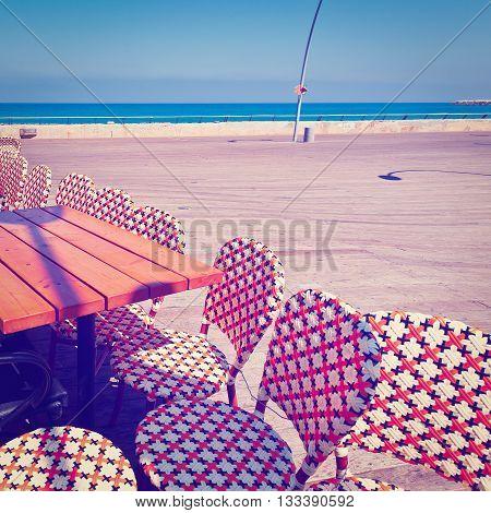 Street Cafe in the Old Port of Tel Aviv Retro Effect