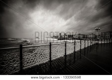 Dramatic View From Brighton Pier In Black And White