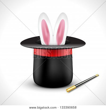 Magic hat with bunny rabbit ears. Magic show perfomance design poster template.