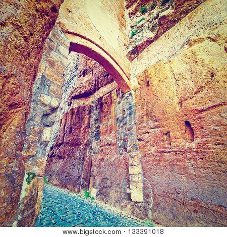 Medieval Castle Orvieto in Italy Retro Effect