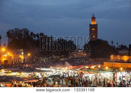 Djemaa El Fna Mosque Evening
