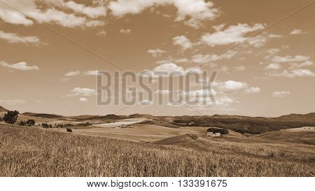 Wheat Fields on the Hills of Sicily Vintage Style Sepia