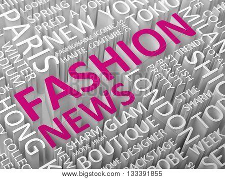 Fashion news word cloud concept 3d illustration.