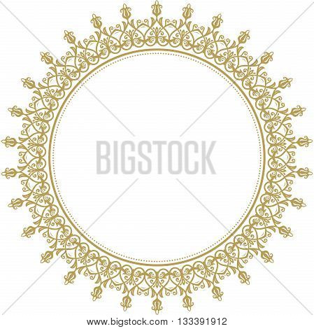 Oriental vector round frame with arabesques and floral elements. Floral fine border. Greeting card with place for text. Golden round pattern