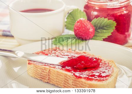Slice Of Bread With Strawberry Jam