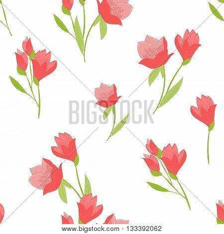 Seamless vector pattern with Tulips. Spring floral background. Tulips on white background