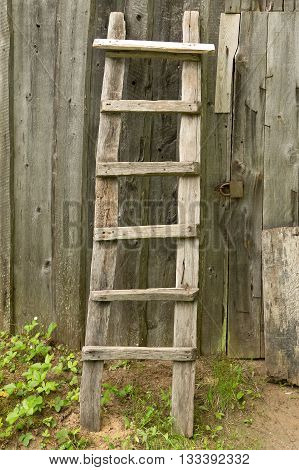 Old wooden ladder propped against the rural barn