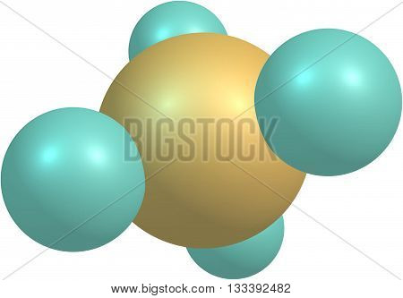 Methane molecule on white background. 3d illustration