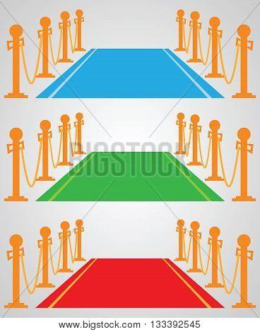 Red carpet: set of vector illustrations - blue, green, red