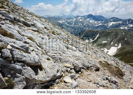 Panoramic view to northen Pirin mountain from Vihren peak, Bulgaria