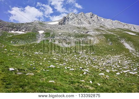 Panoramic view of Pirin mountain and the Trail for Climbing a Vihren Peak,Pirin Mountain, Bulgaria