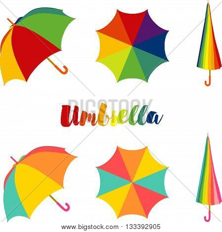 Umbrella, Set of colorful open and closed umbrella with multi-colored lettering.