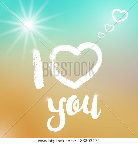 Vector I love you template on colorful background. Template with white text and big heart illustration. I love you template on blurred background with highlights. Love text and hearts with sparkles.