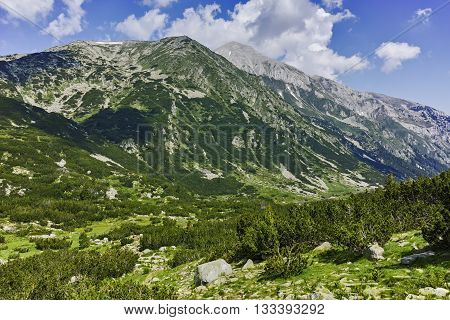 Amazing view of Vihren and Hvoynati Peaks, Pirin Mountain, Bulgaria