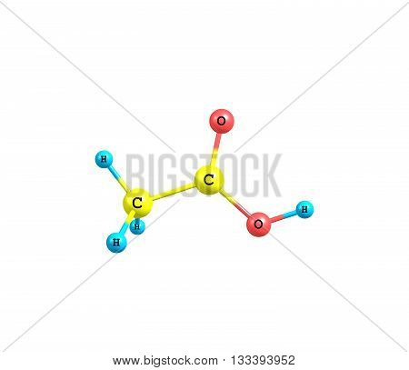 Acetic acid - ethanoic acid - is an organic compound with the chemical formula CH3COOH. It is a colourless liquid that when undiluted is also called glacial acetic acid. 3d illustration