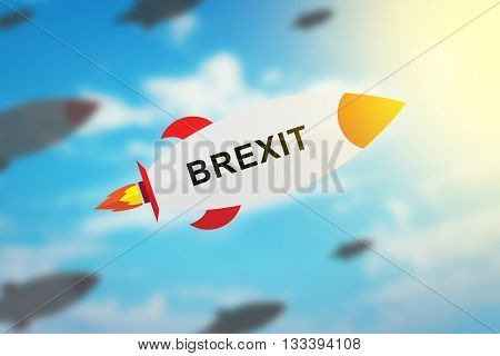 group of BREXIT or british exit flat design rocket with blurred background and soft light effect