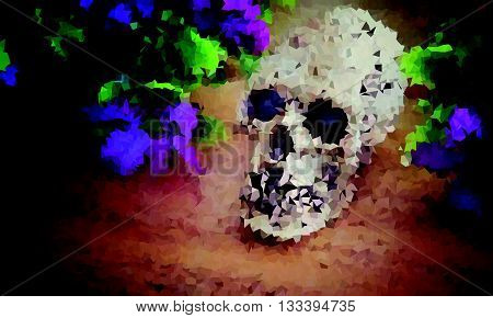 Abstract Background Of Skull On Wooden Floor