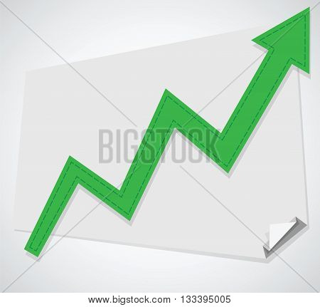 Business graph. Vector increasing chart on board