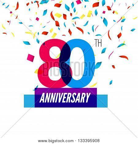 Anniversary design. 80th icon anniversary. Colorful overlapping design with colorful confetti.
