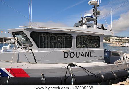Sainte Maxime France - april 16 2016 : customs boat in the port