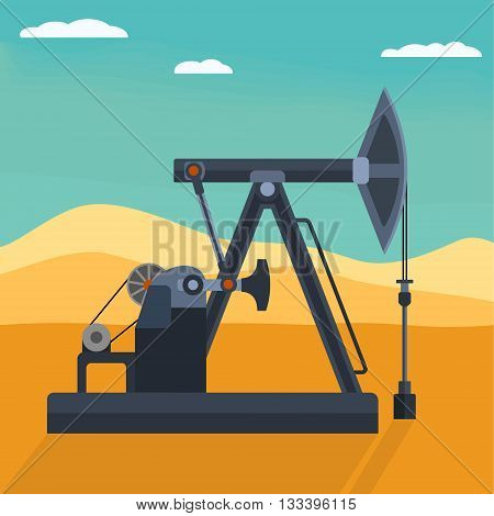 Pumpjack detailed flat style vector illustration. Working oil well pump on the desert background. Industrial machine for extraction of petroleum.