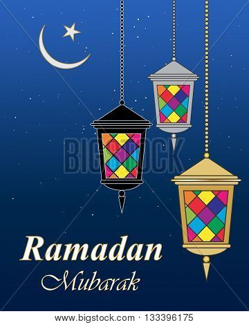 an illustration of a ramadan greeting card with colorful lanterns islamic symbol and a dark blue night sky with stars
